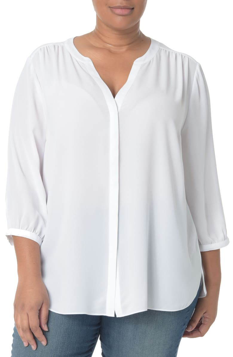 NYDJ Pintuck Pleat Crepe Blouse, Main, color, OPTIC WHITE
