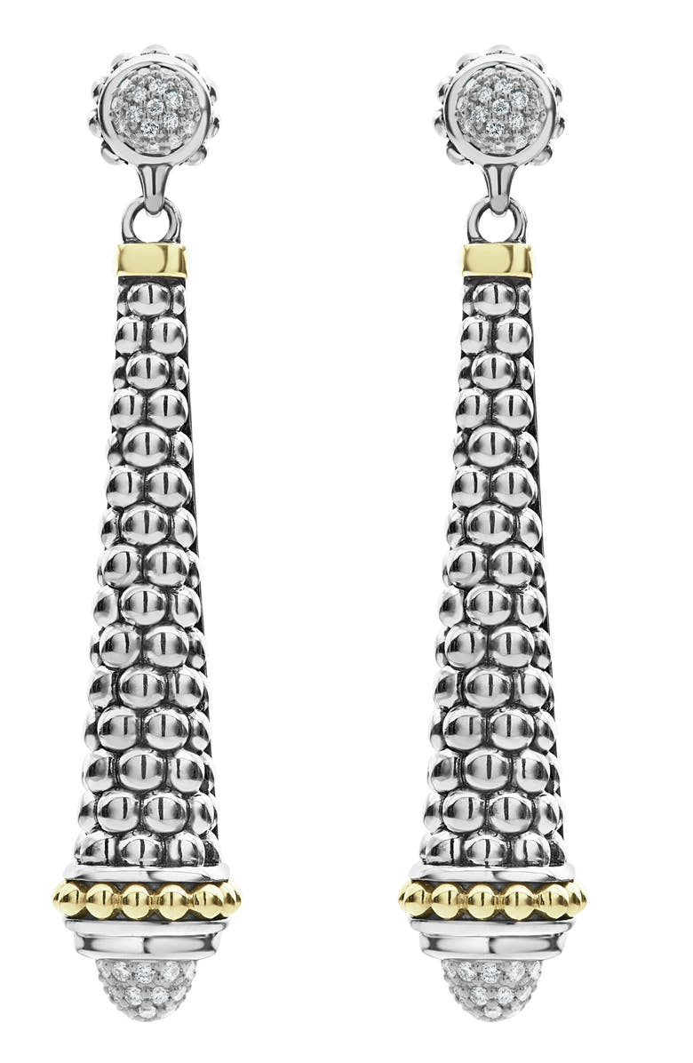 LAGOS Signature Caviar Diamond Pavé Cap Drop Earrings, Main, color, SILVER