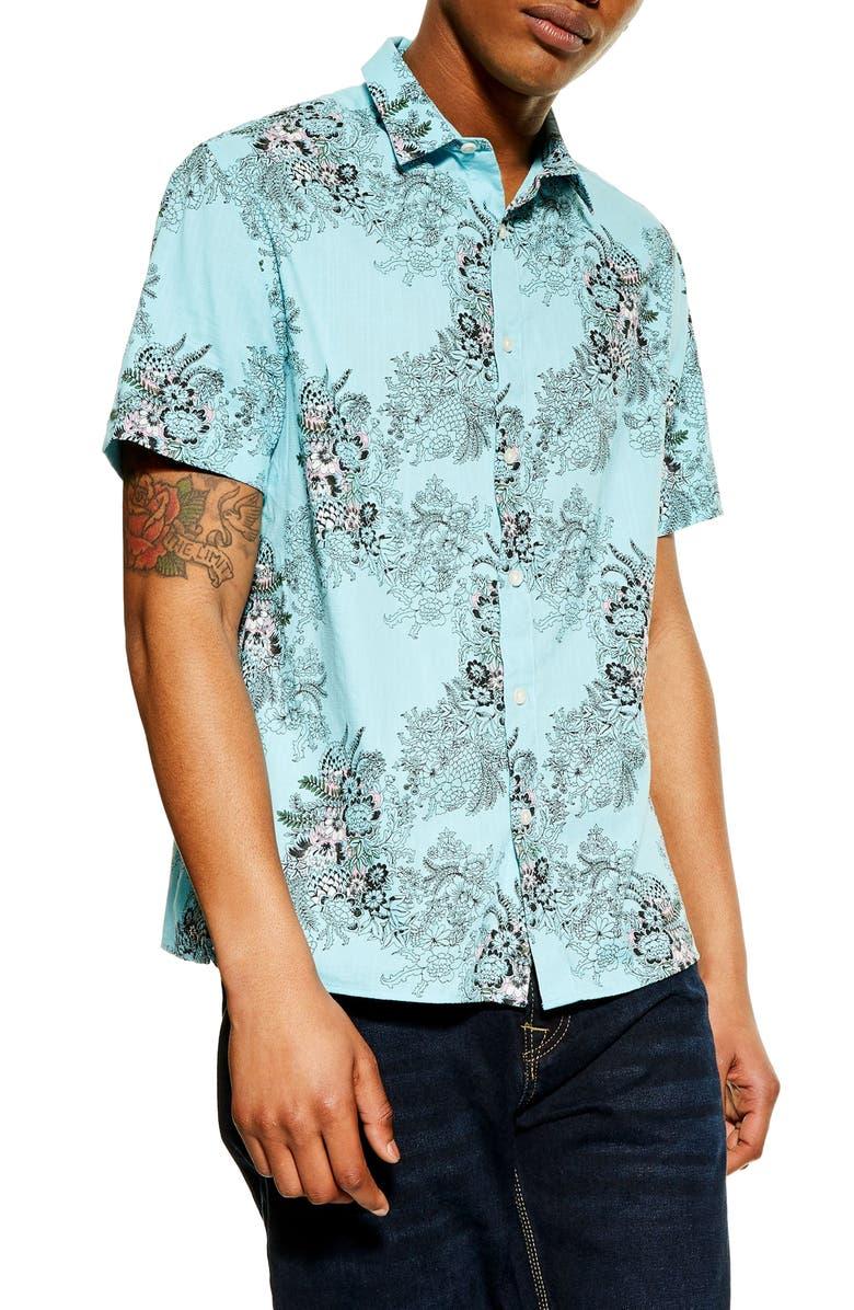 TOPMAN Floral Print Shirt, Main, color, 460