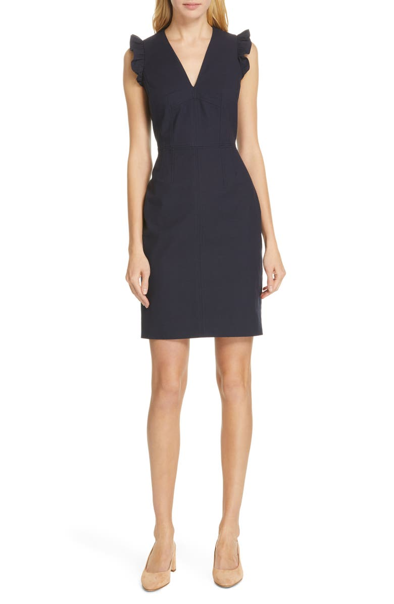 TAILORED BY REBECCA TAYLOR V-Neck Sheath Dress, Main, color, NAVY