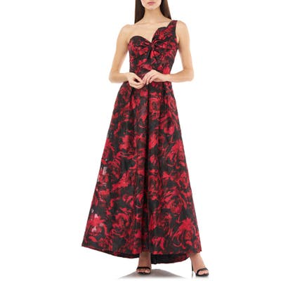 Carmen Marc Valvo Infusion One Shoulder Brocade Gown, Red