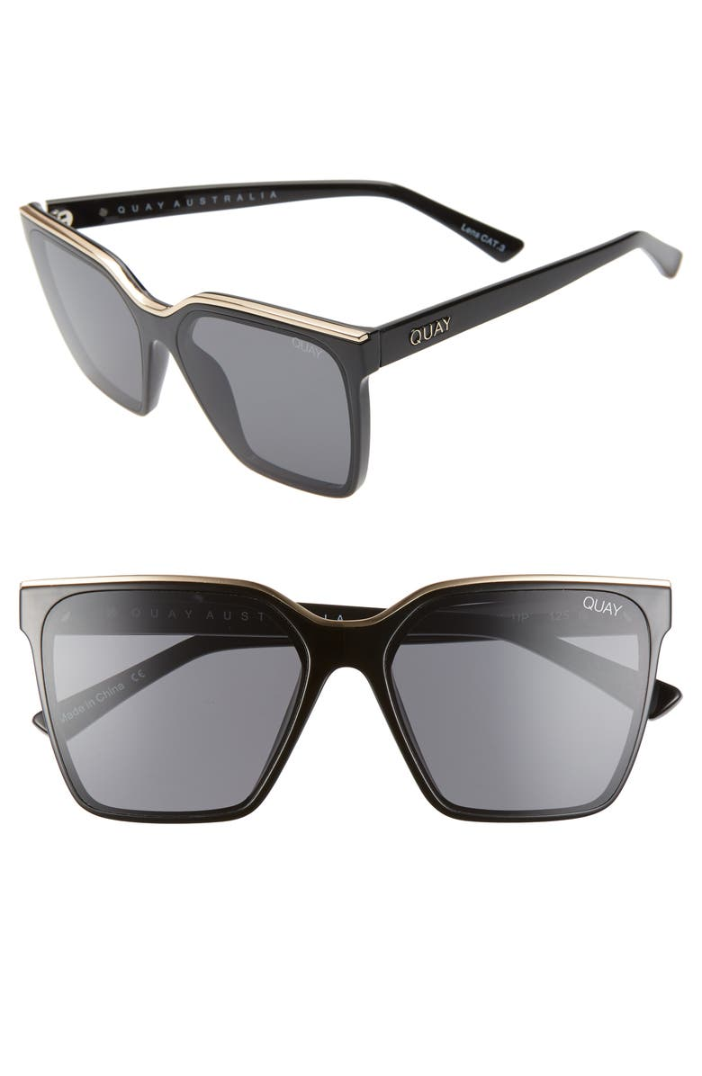 QUAY AUSTRALIA x Lizzo Level Up 55mm Sunglasses, Main, color, BLACK GOLD/ SMOKE