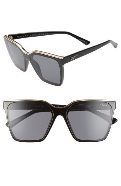 Quay X Lizzo Level Up 55mm Sunglasses In Black Gold/ Smoke