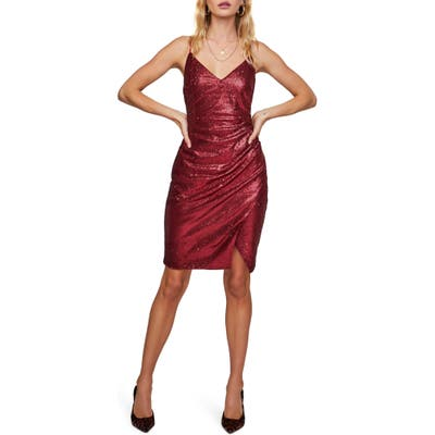 Astr The Label Yours Truly Sleeveless Sequin Dress, Red