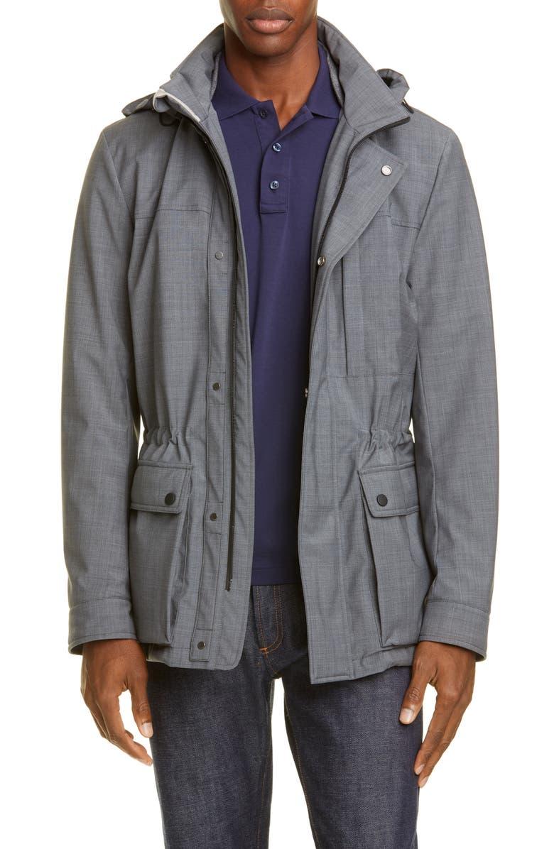 CANALI Classic Fit Waterproof Hooded Car Coat, Main, color, 020