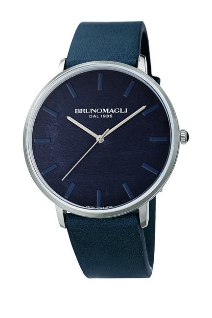 Image of Bruno Magli Men's Roma 1163 Leather Strap Watch, 42mm x 45mm