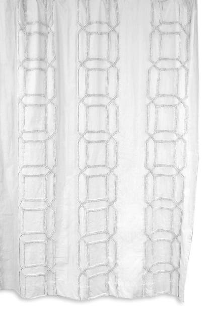 Image of BCBG Clip Cube Tufted Shower Curtain - White/White