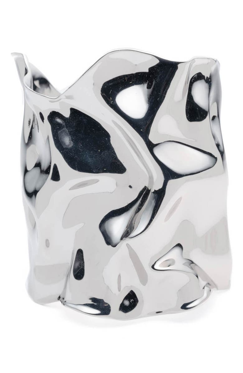 ALEXIS BITTAR Crumpled Wide Cuff, Main, color, SILVER