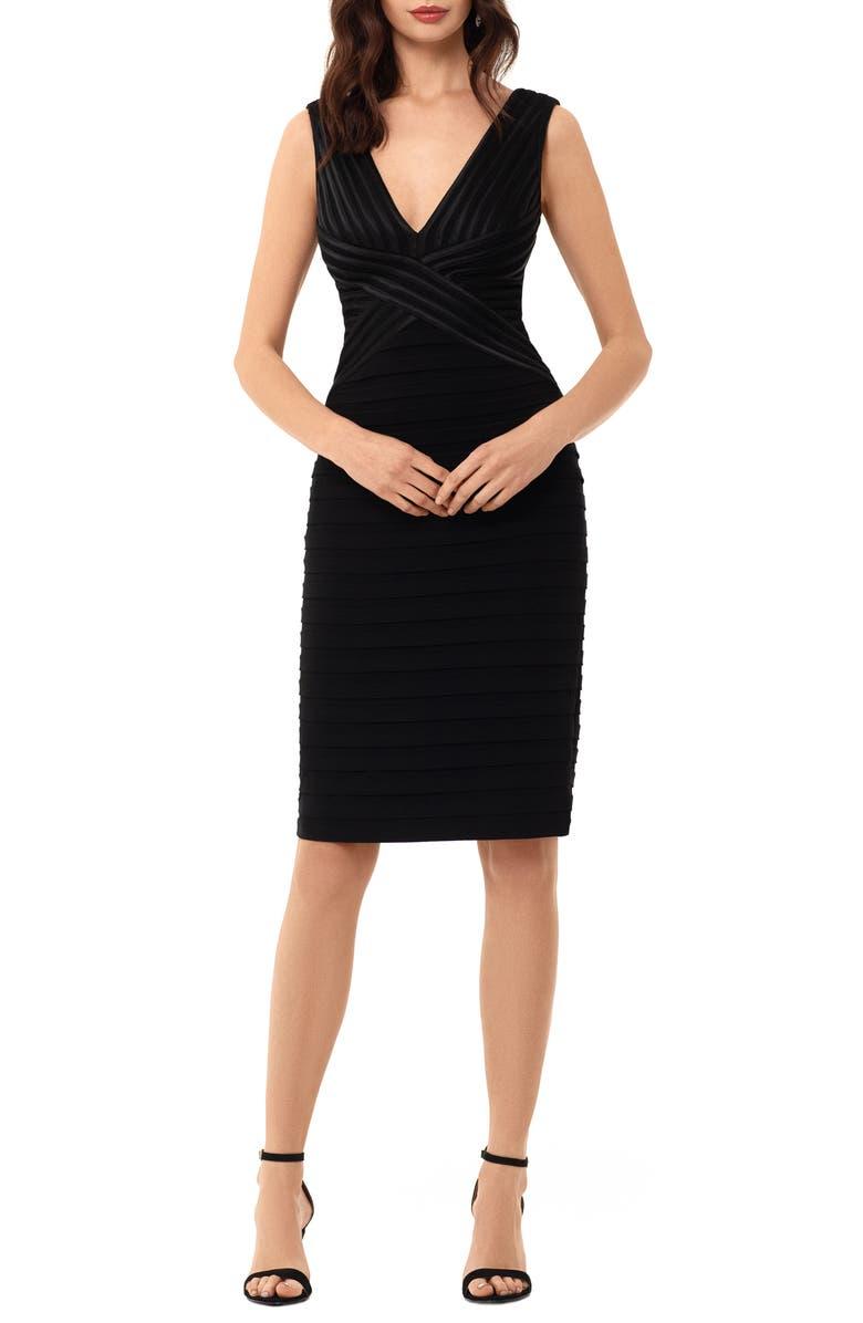BETSY & ADAM Shutter Stripe Cocktail Dress, Main, color, BLACK