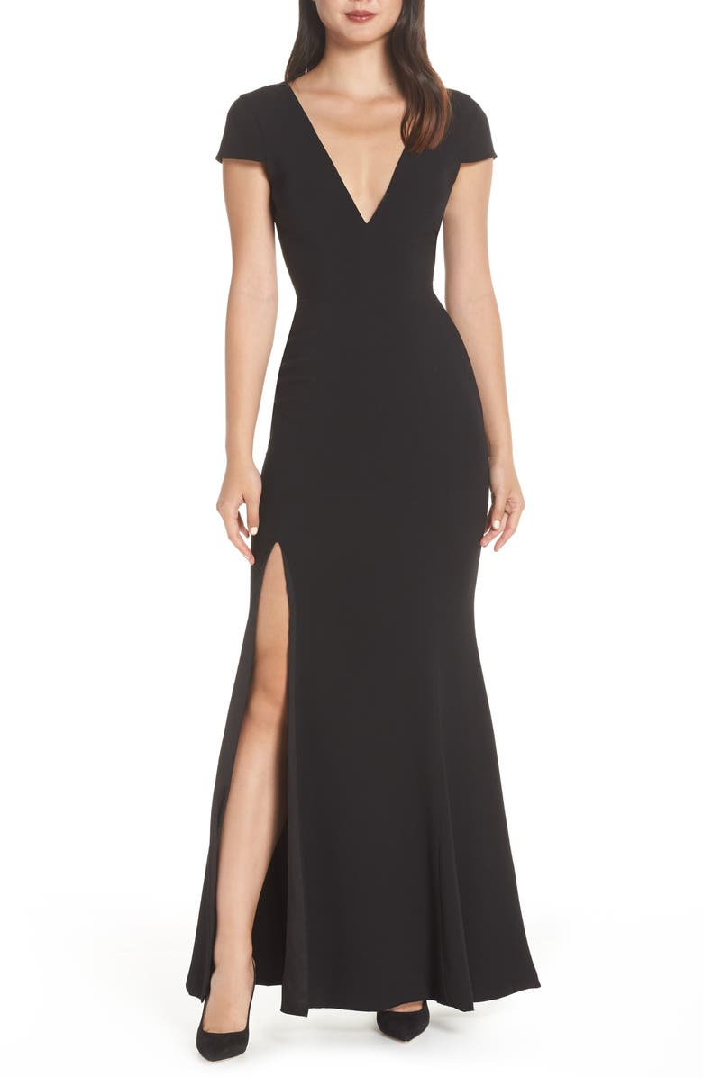 DRESS THE POPULATION Karla V-Neck Trumpet Gown, Main, color, 001