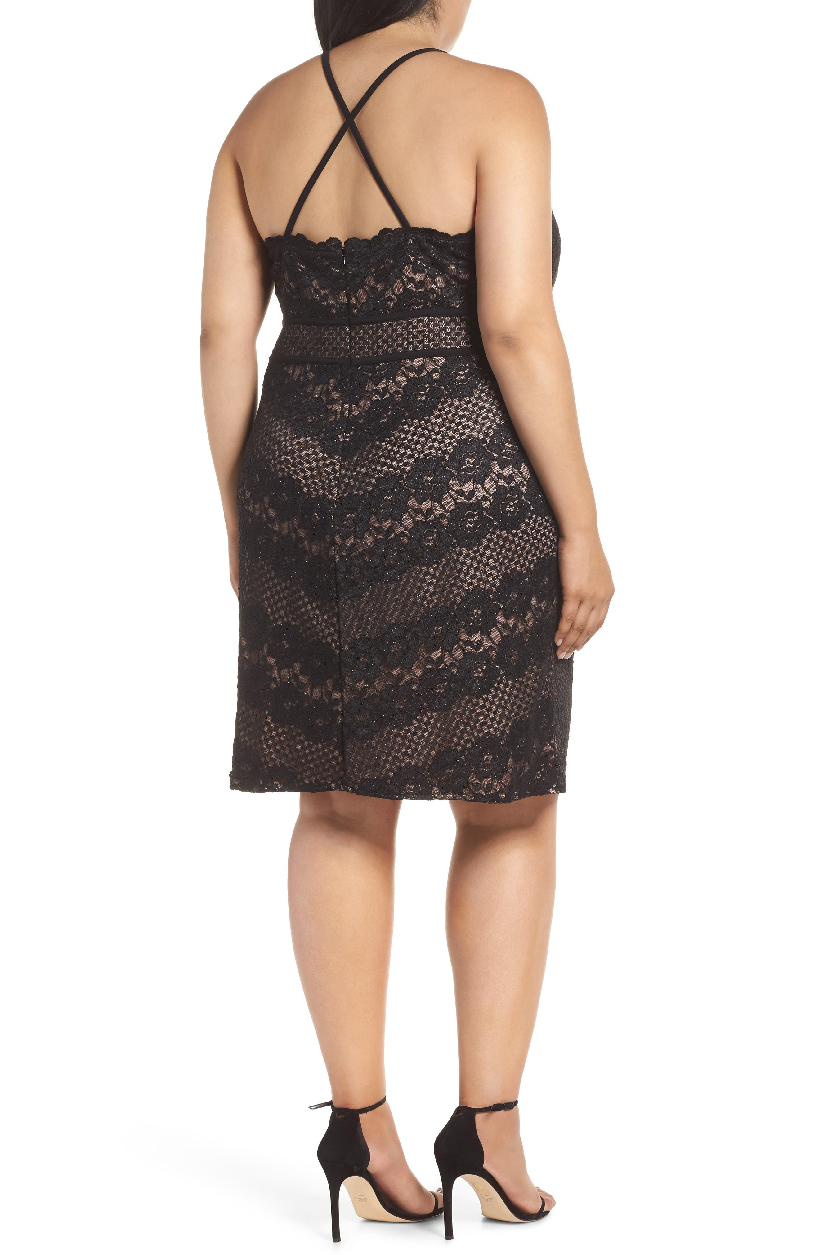 ,                             Mitered Lace Halter Dress,                             Alternate thumbnail 2, color,                             BLACK/ NUDE
