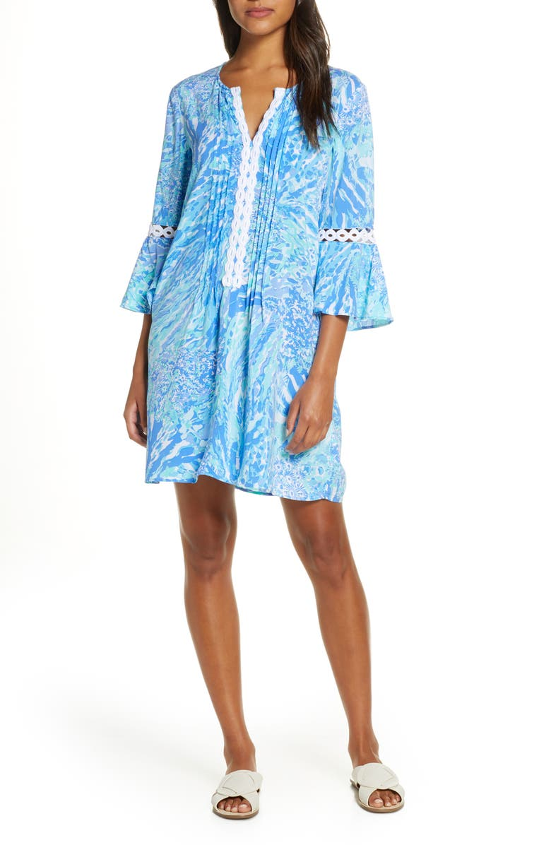 LILLY PULITZER<SUP>®</SUP> Hollie Tunic Dress, Main, color, BLUE HAVEN HEY HEY SOLEIL