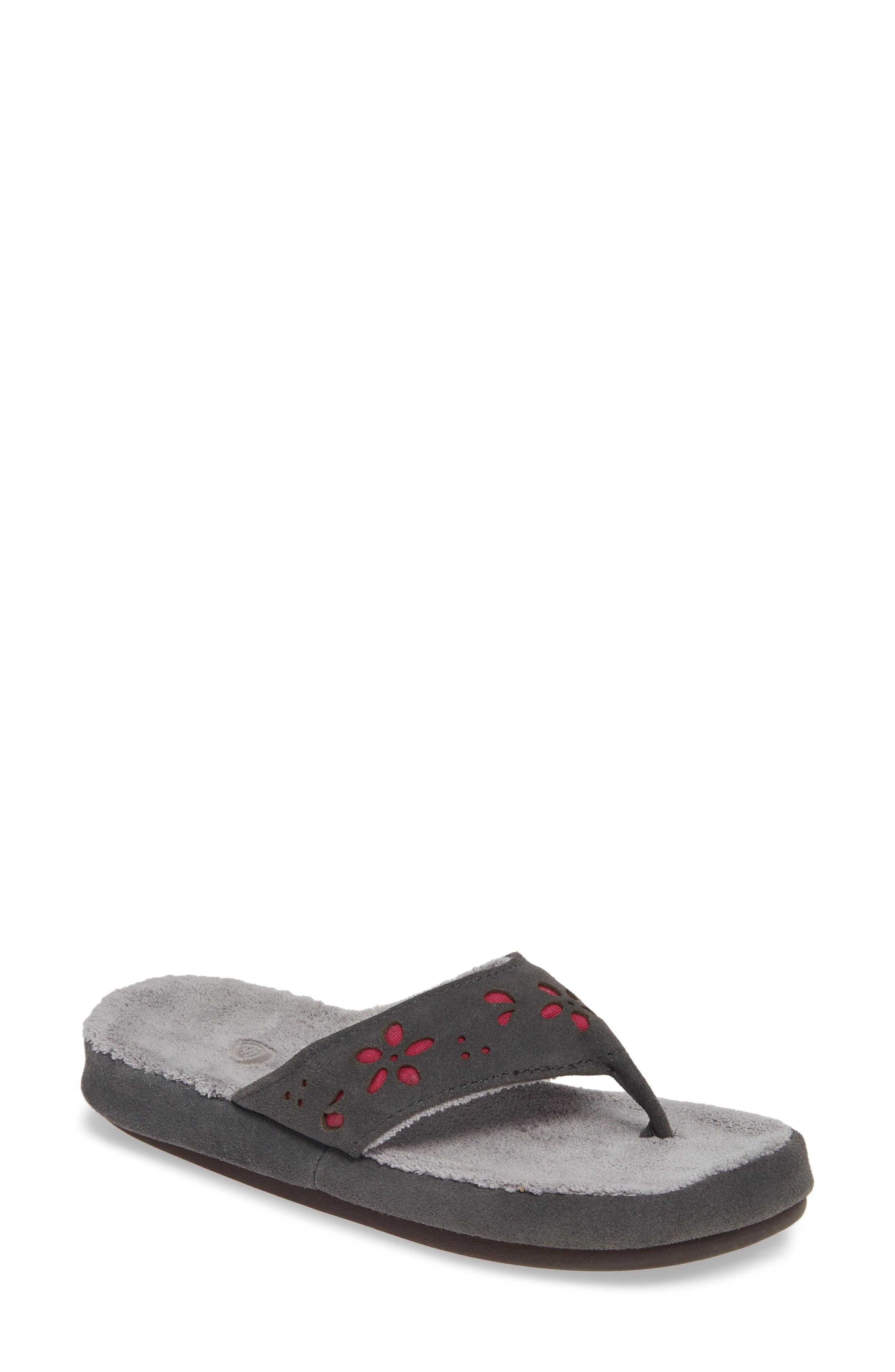 Acorn Flora Spa Flip Flop, Grey