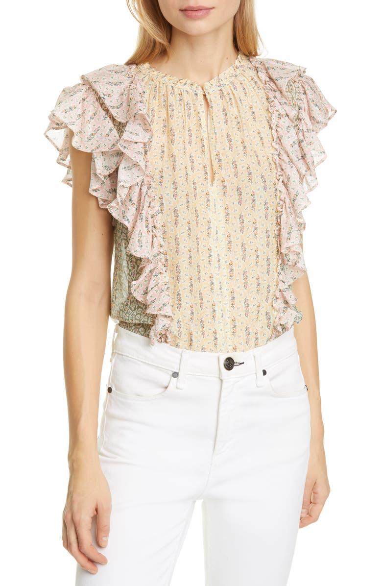 LA VIE REBECCA TAYLOR Pascale Mixed Floral Print Cotton & Silk Top, Main, color, MULTI COMBO