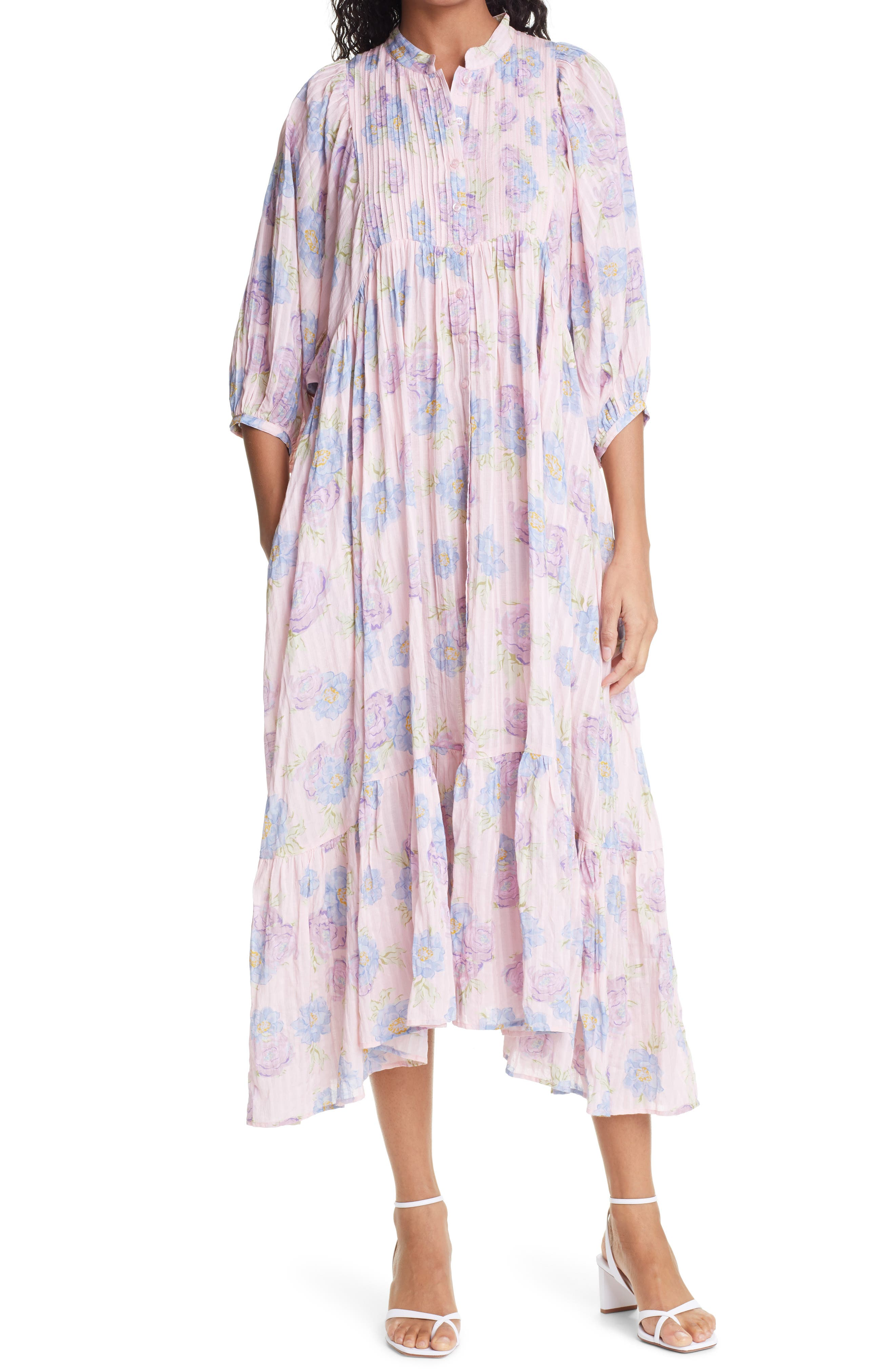 Floral Stripes Button Front Midi Dress