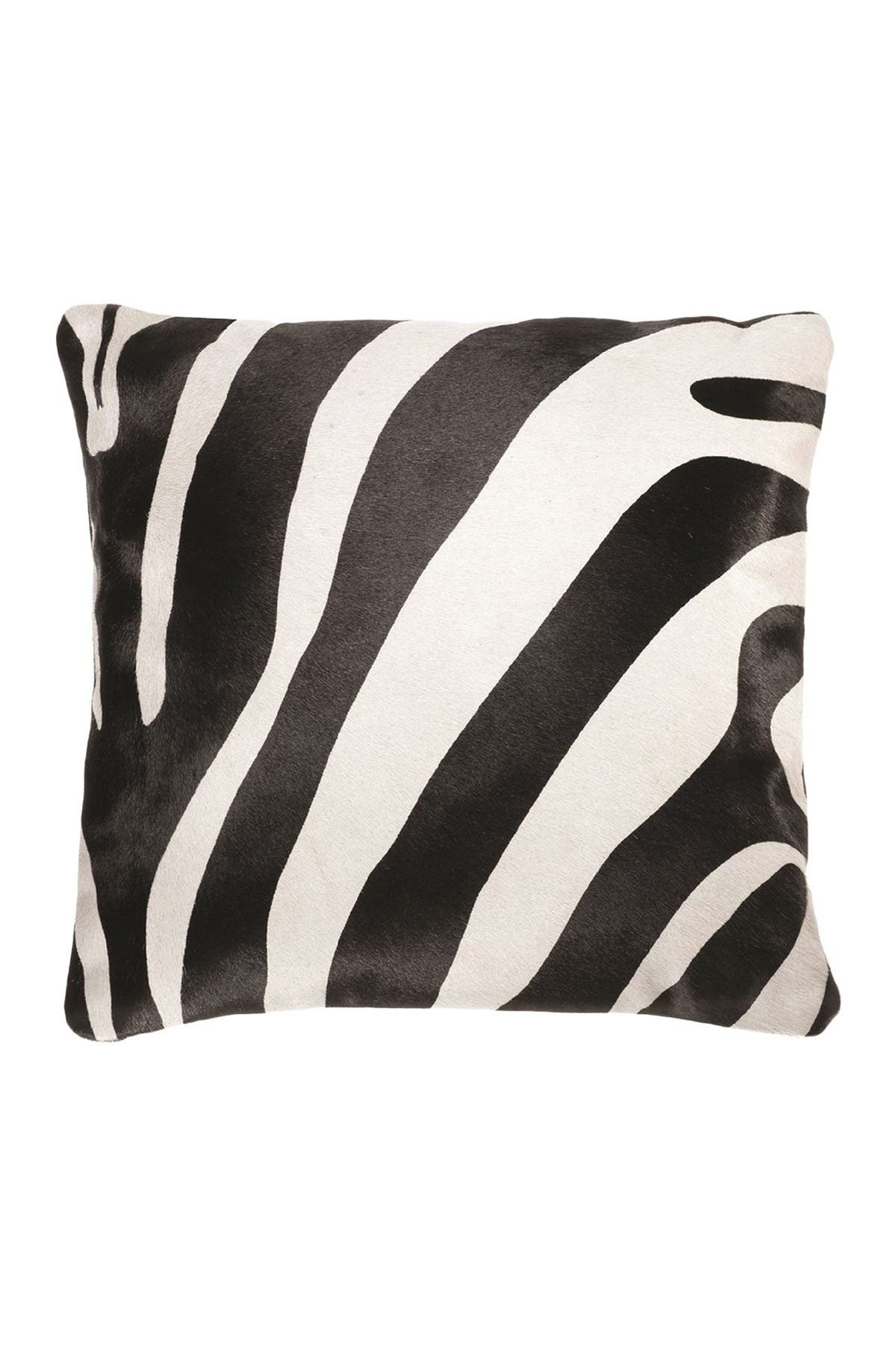 "Image of Natural Torino Genuine Cowhide Pillow - 18""x18"" - Zebra"