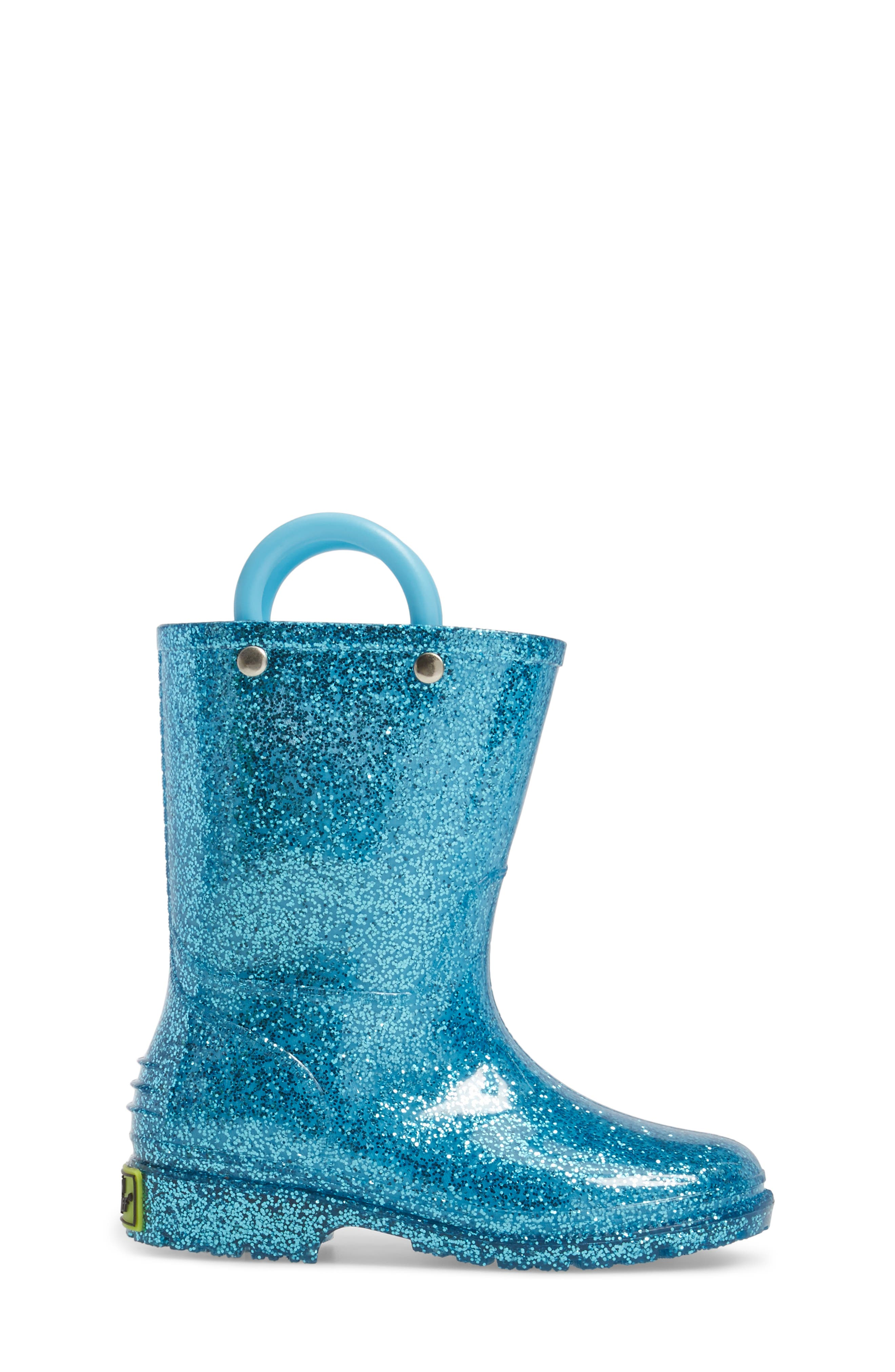 ,                             Glitter Waterproof Rain Boot,                             Alternate thumbnail 3, color,                             TURQUOISE