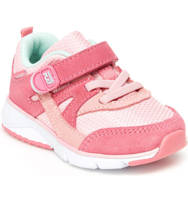 STRIDE RITE M2P Ace Sneaker, Main, color, PINK LEATHER/ SUEDE