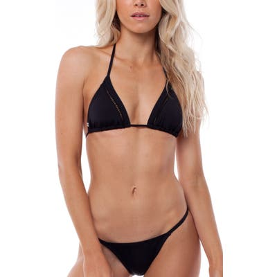 Rhythm My Slide Triangle Bikini Top, Black