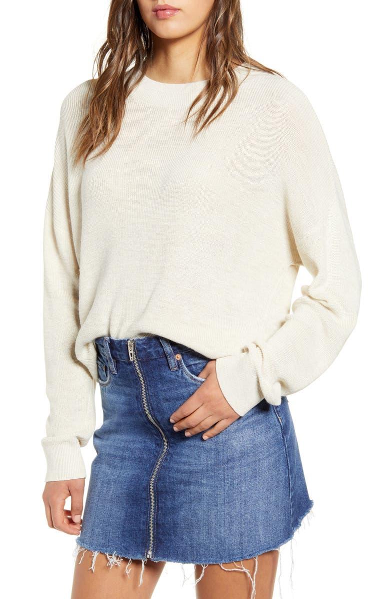 Lightweight Sweater, Main, color, BEIGE OATMEAL LIGHT HEATHER