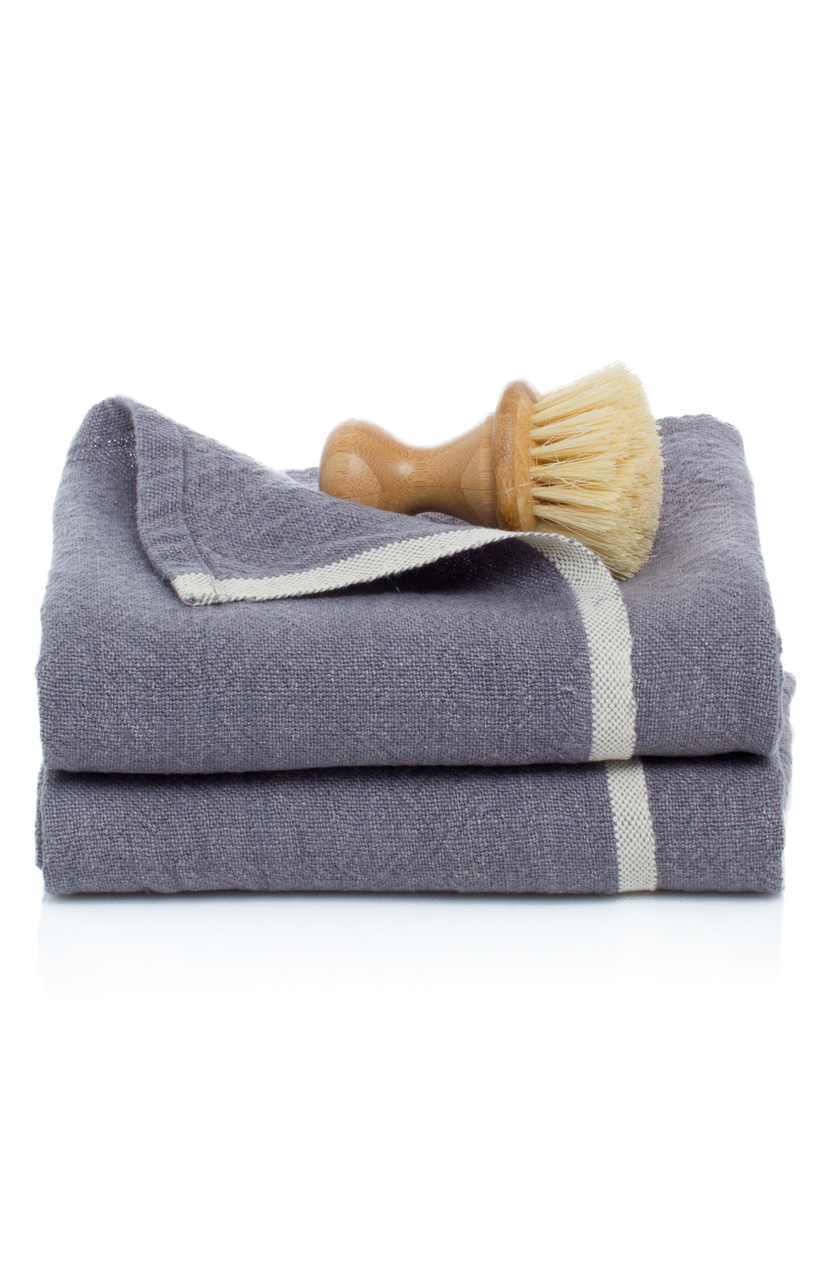 Caravan Set Of 2 Chunky Linen Hand Towels Size One Size  Grey