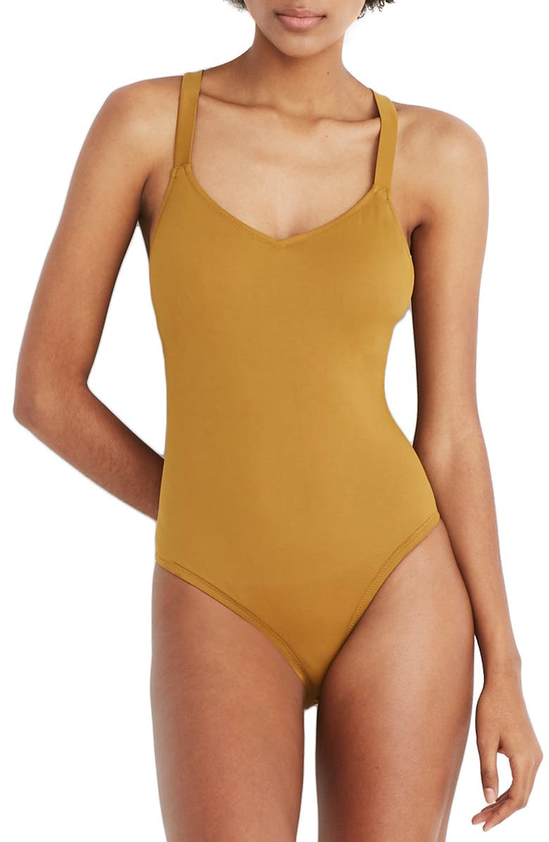 MADEWELL Second Wave Crisscross One-Piece Swimsuit, Main, color, DISTANT OLIVE