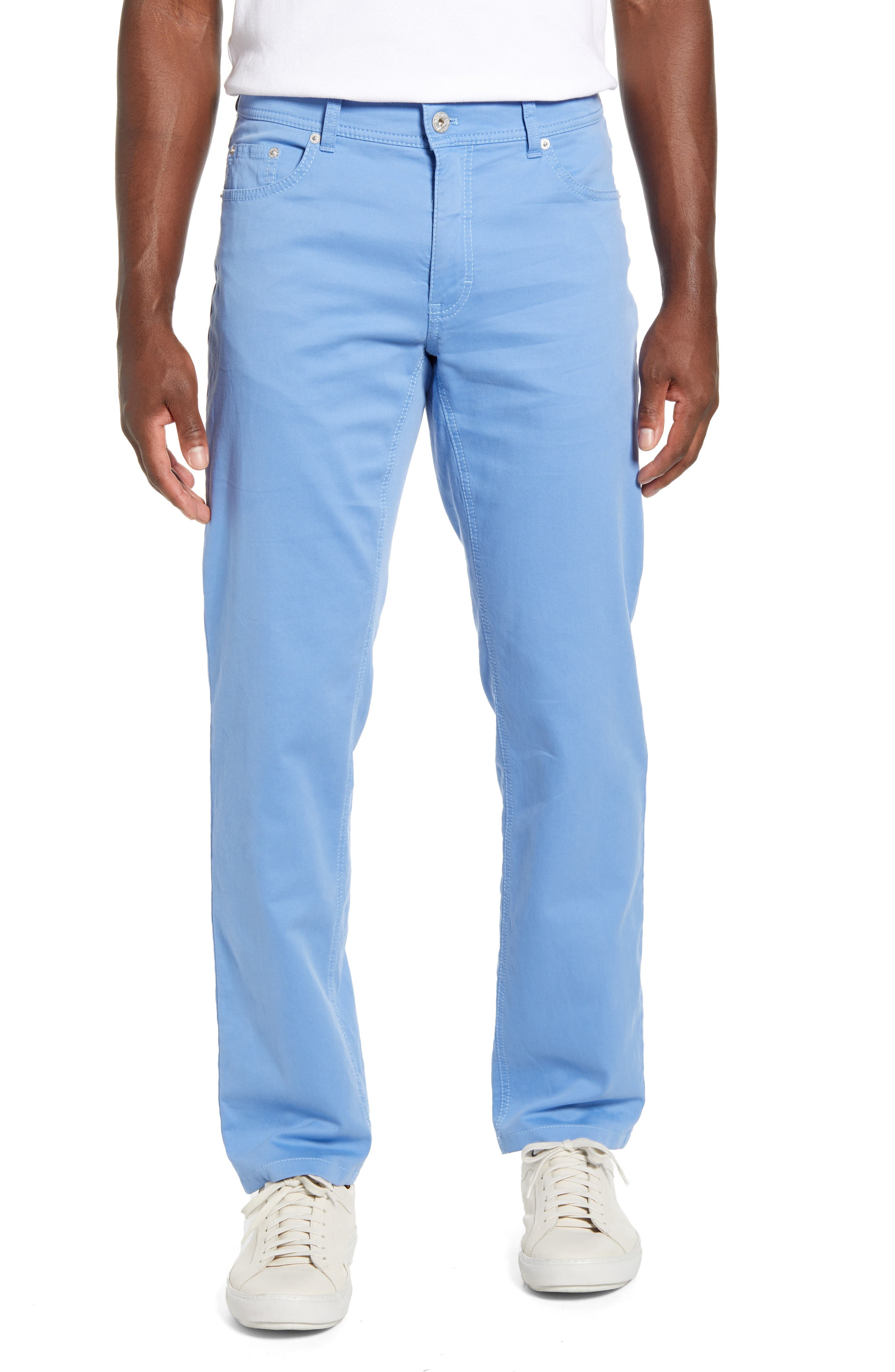 Soft coloring furthers the versatile appeal of five-pocket pants made from a two-tone stretch weave with a straight-leg profile. Style Name: Brax Cooper Fancy Hurricane Regular Fit Pants. Style Number: 5918991. Available in stores.