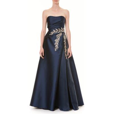 Carolina Herrera Crystal Embellished Strapless Taffeta Ballgown, Blue
