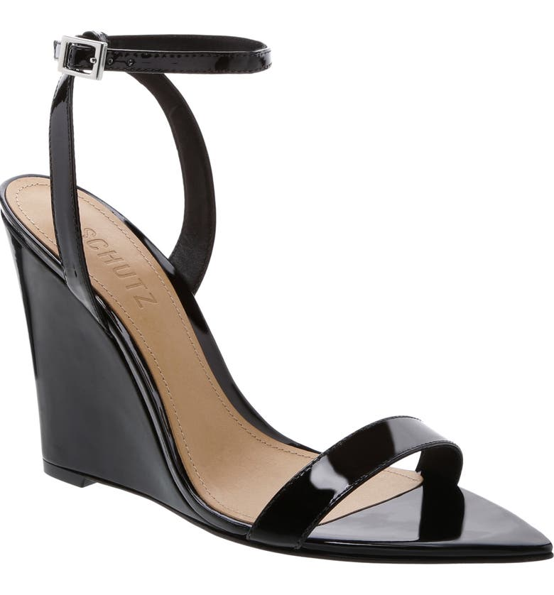 SCHUTZ Wedge Sandal, Main, color, BLACK PATENT LEATHER