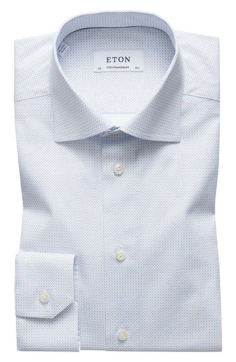 ETON Contemporary Fit Print Dress Shirt, Main, color, BLUE