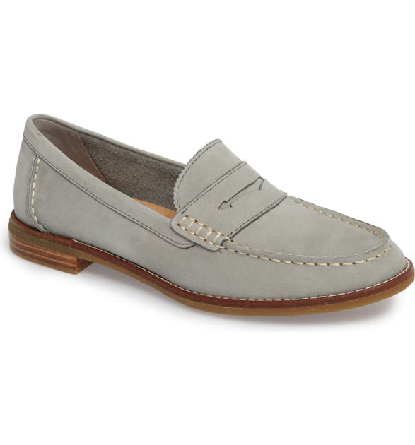 Sperry Seaport Penny Loafer In Grey Leather