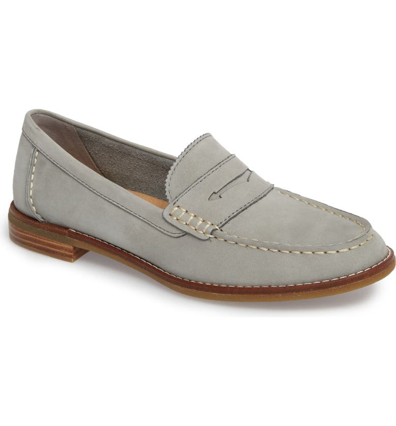SPERRY Seaport Penny Loafer, Main, color, GREY LEATHER