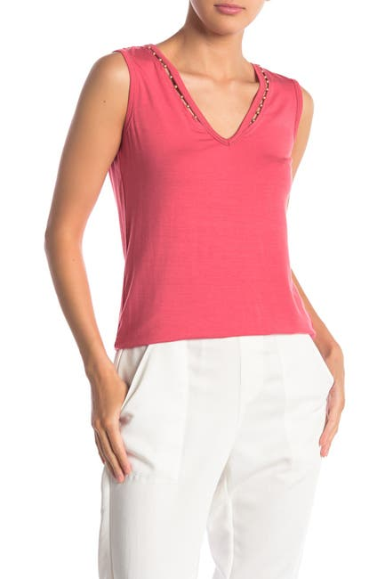 Image of NANETTE nanette lepore Sleeveless Pearl Neck Knit Top
