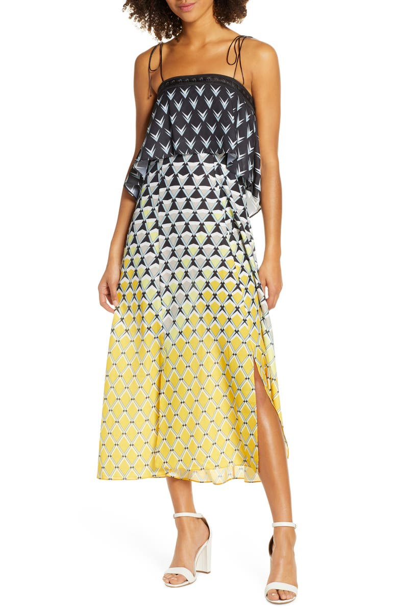 CAARA Frenta Ombré Geo Print Popover Midi Sundress, Main, color, YELLOW