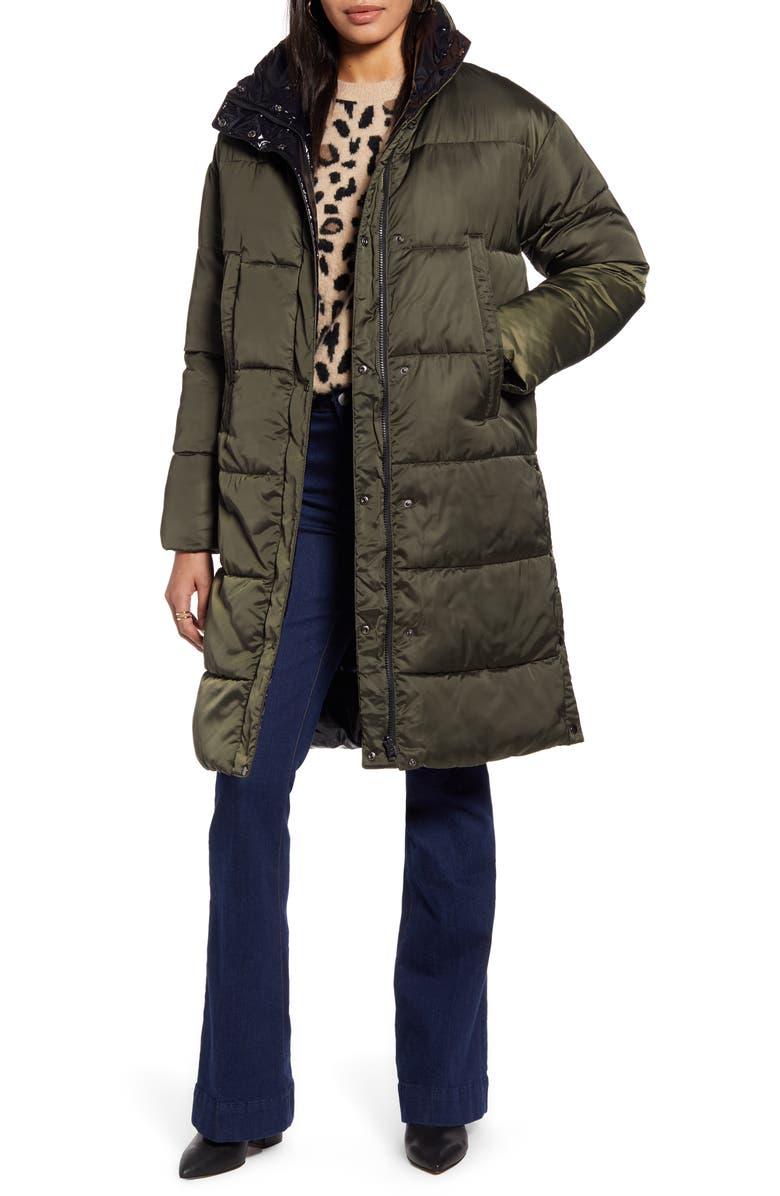 HALOGEN<SUP>®</SUP> Reversible Puffer Coat, Main, color, OLIVE- BLACK SHINE