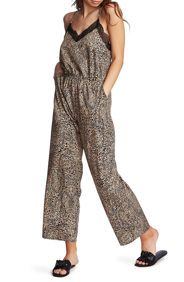 1.STATE Leopard Muse Lace Trim Jumpsuit, Main, color, CARAMEL MULTI