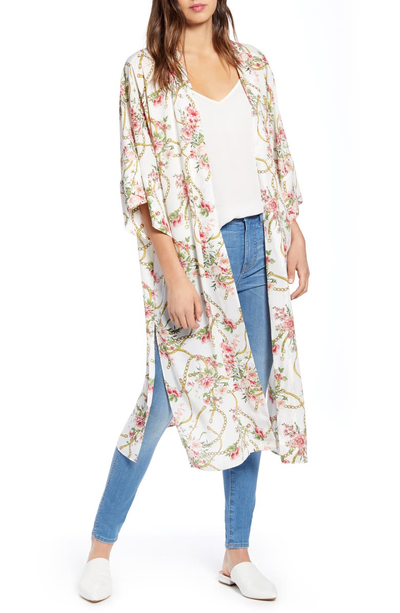 TROUVÉ Floral Duster, Main, color, IVORY CHAIN FLORAL