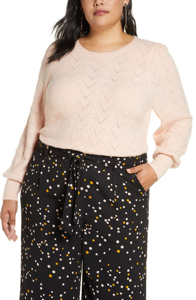 HALOGEN<SUP>®</SUP> Pointelle Puff Sleeve Sweater, Main, color, PINK SMOKE