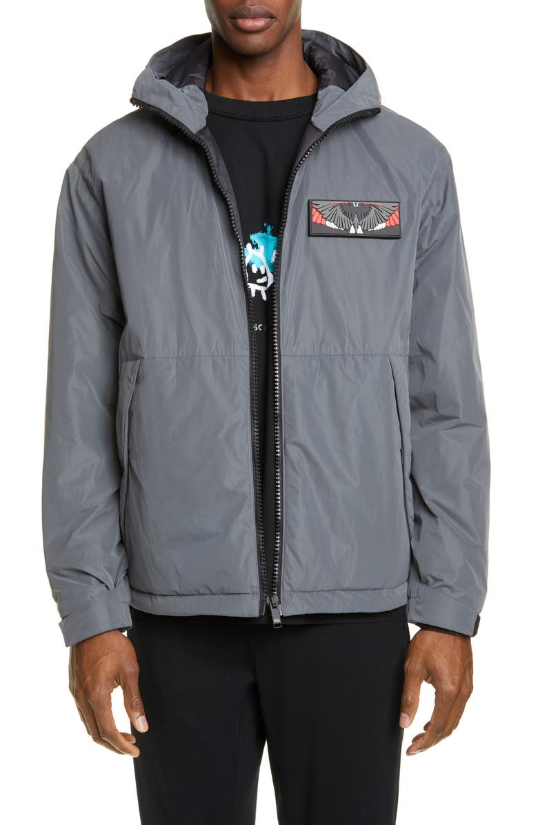 Marcelo Burlon Wings Patch Hooded Nylon Jacket