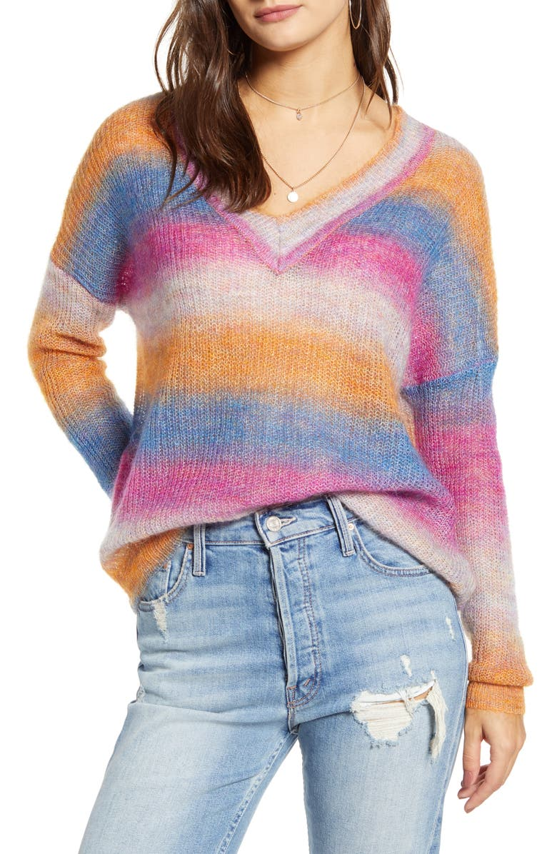 ASTR THE LABEL Ombré Sweater, Main, color, BLUE/ FUCHSIA OMBRE