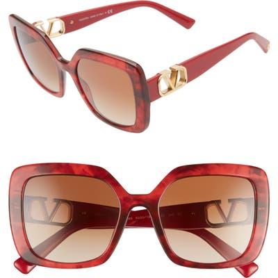 Valentino Vlogo 5m Gradient Square Sunglasses - Red Havana/ Gradient Brown