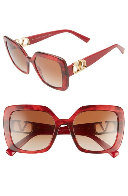 Valentino Vlogo 53mm Gradient Square Sunglasses In Red Havana/ Gradient Brown