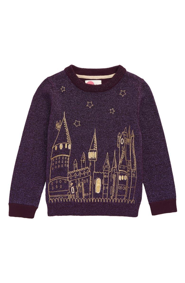 MINI BODEN Harry Potter Hogwarts Sweater, Main, color, PLUM JAM PURPLE