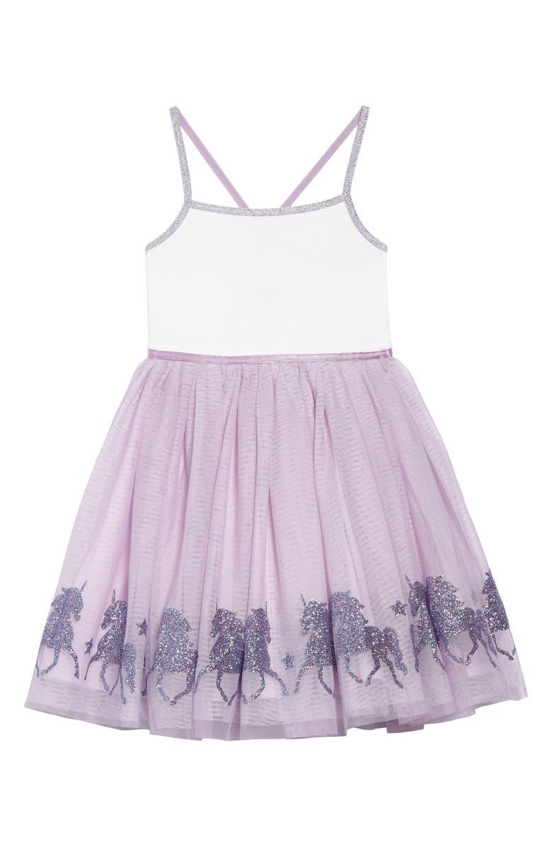 ZUNIE Glittery Unicorn Ballerina Dress, Main, color, 531