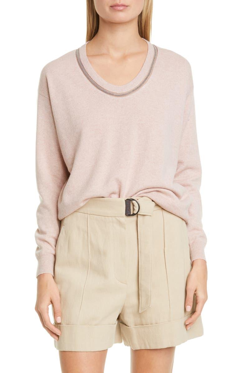 BRUNELLO CUCINELLI Monili Inset Cashmere Sweater, Main, color, 650