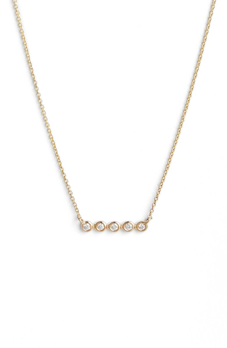 DANA REBECCA DESIGNS Lulu Jack Bezel Diamond Bar Necklace, Main, color, YELLOW GOLD/ DIA