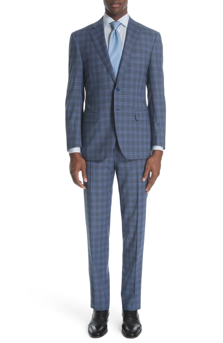 CANALI Siena Classic Fit Plaid Wool Suit, Main, color, 020