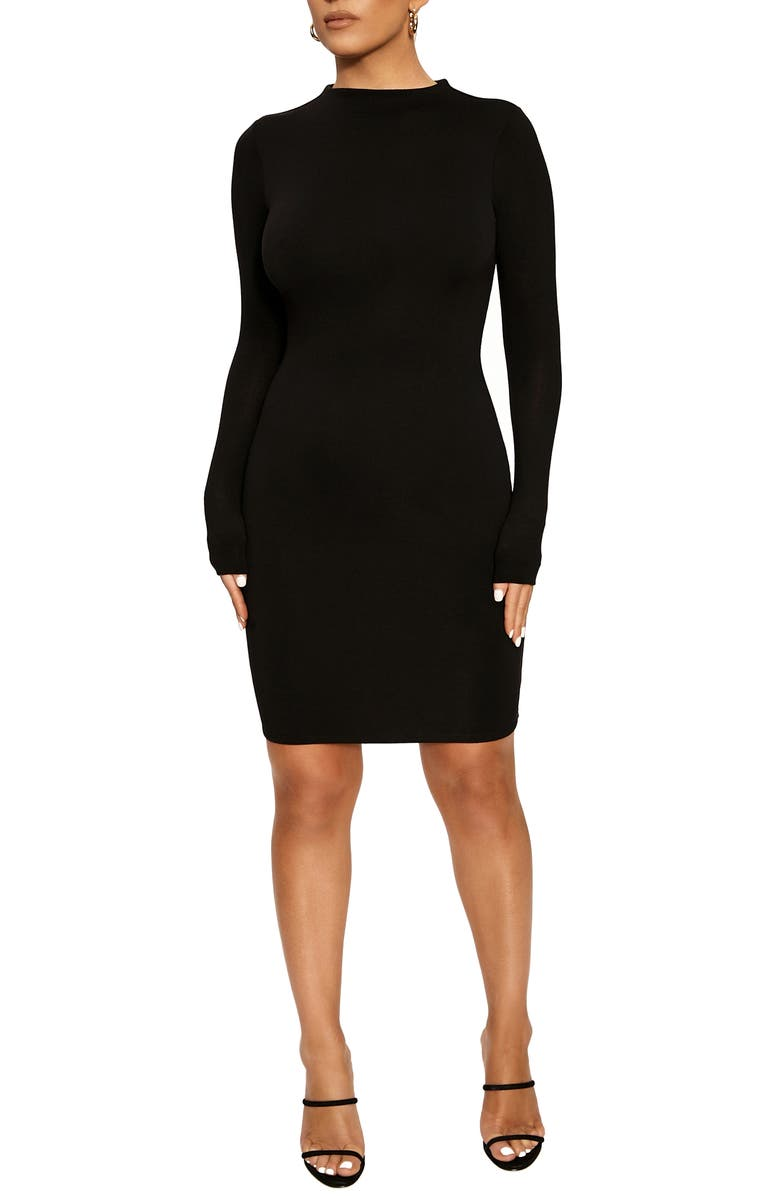 NAKED WARDROBE Long Sleeve Minidress, Main, color, BLACK
