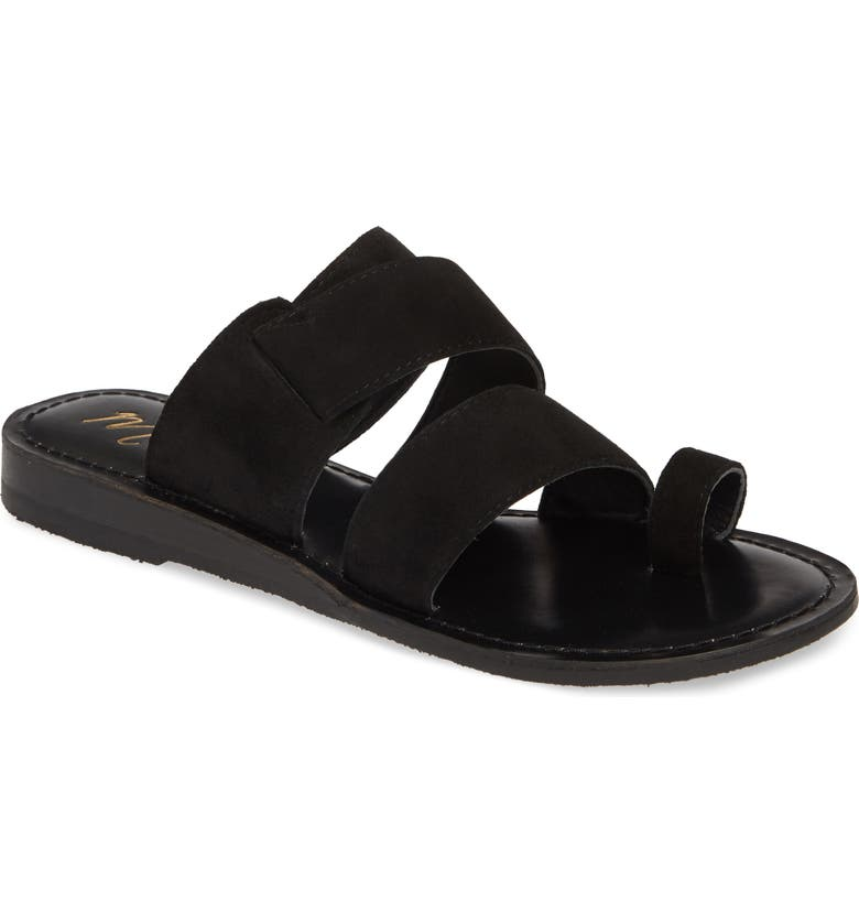 MATISSE Good Time Slide Sandal, Main, color, BLACK SUEDE