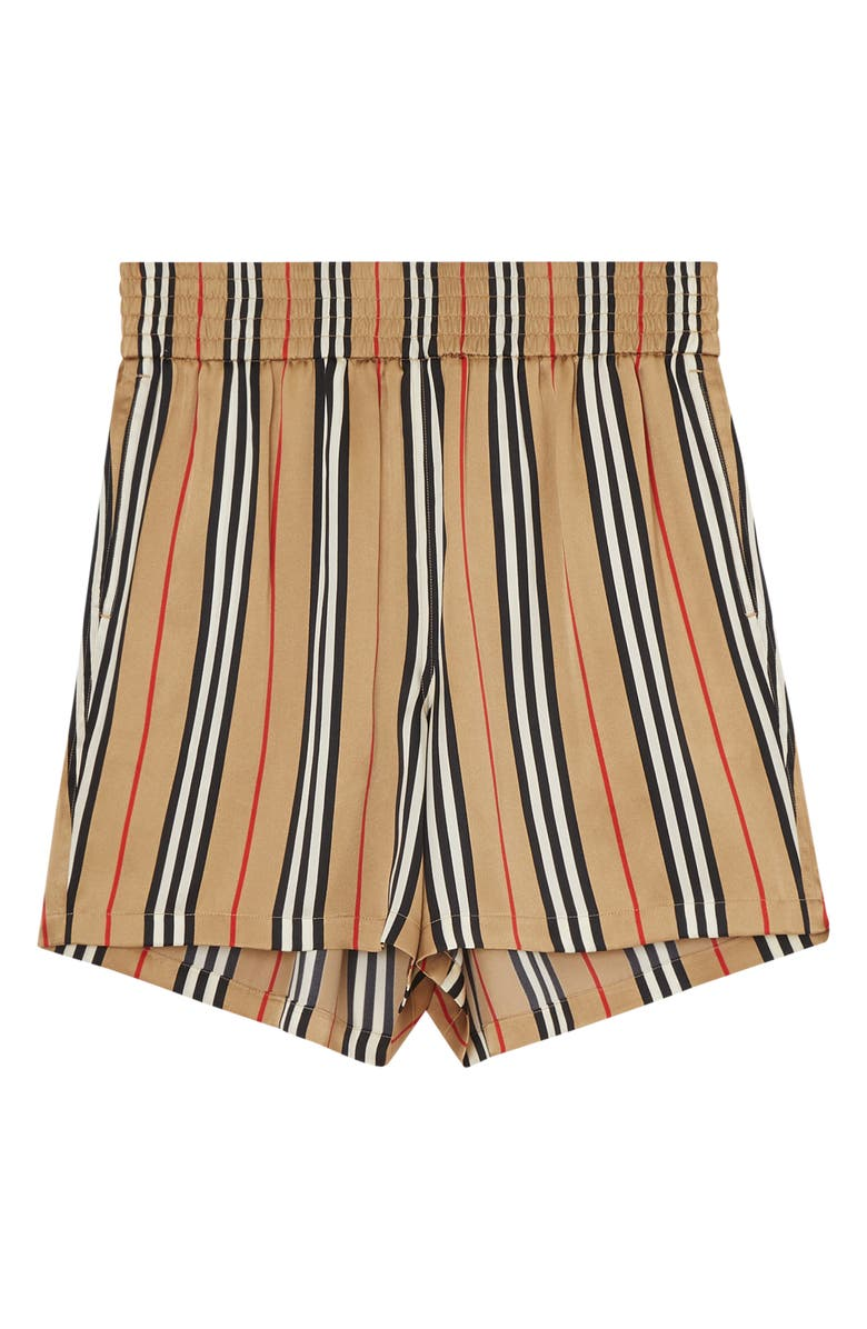 Marsett Icon Stripe Silk Shorts, Alternate, color, ARCHIVE BEIGE IP S